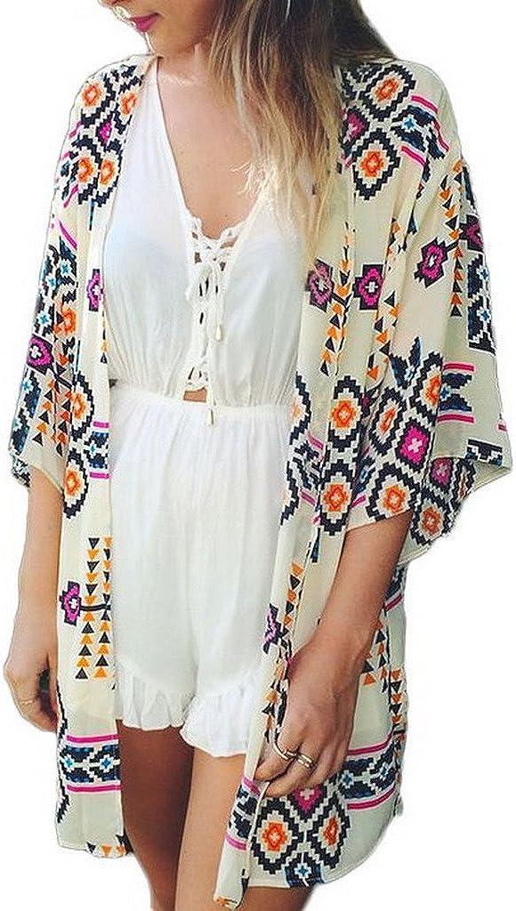 Toyobuy Women Beachwear Tunic Chiffon Geometry Print Kimono Cover-ups