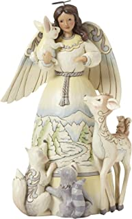 Jim Shore Heartwood Creek White Woodland Angel with Animals Stone Resin Figurine, 9.5""