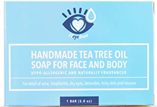 Tea Tree Oil Face Soap and Eyelid Scrub for Support of Eyelid Irritation, Itchy Skin, Flaky Skin, and Dryness | Handmade w...