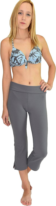 Private Island Hawaii Women UV Rash Guard Leggings Capri Pants (XXXLarge, Grey)