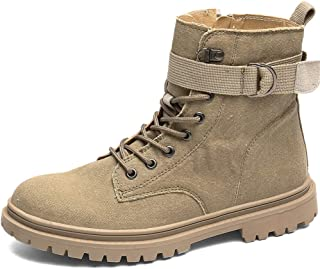 2019 Mens New Lace-up Flats Mens High Top Work Boots For Men Synthetic Leather Lace Up Stitching Side Zipper Easy Care Adjustable Buckle Band Anti-slip Lug Sole ( Color : Khaki , Size : 6 UK )