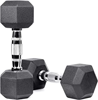 Meteor Essential Rubber Hex Dumbbell Weight Training Exercise Workout Fitness Gym Strength Barbell