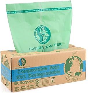 Greener Walker 100% Compostable Trash Bags, 2.64 Gallon-150Bags, ASTM D6400 BPI Biodegradable Food Kitchen Waste Bags