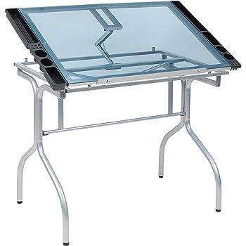 "Studio Designs Folding Modern Glass Top Adjustable Drafting Table Craft Table Drawing Desk Hobby Table Writing Desk Studio Desk, 35.25"" W x 23.75"" D, Silver / Blue Glass"