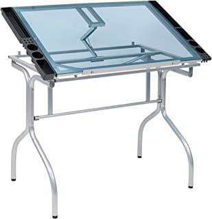 Studio Designs Folding Modern Glass Top Adjustable Drafting Table Craft Table Drawing Desk Hobby Table Writing Desk Studio...
