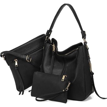 Realer Damen Handtaschen Mittel Shopper Lederhandtasche Schultertasche Umhängetasche Geldbörse Hobo Damen Taschen Set 3pcs Schwarz