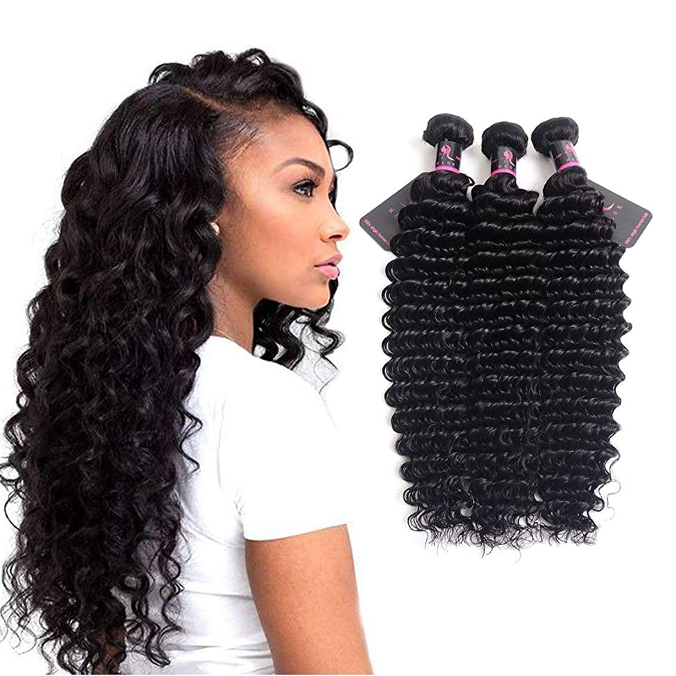 HLSK Brazilian Deep Wave Virgin Hair 3 Bundles- 100% Unprocessed Human Hair Wave Can Be Dyed and Bleached 10 12 14inch