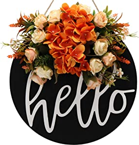 Fall Wreaths for Front Door Decor Hello Welcome Sign for Front Door Spring Summer Fall Wreath Farmhouse Wall Decor Wooden Hello Sign for Wreath Rustic Door for Front Porch Welcome Home Sign Decor (A)