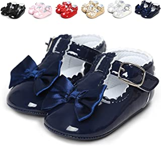QGAKAGO Infant Baby Girls Bowknot Soft Sole Prewalker Mary Jane Shoes Princess Crib Light Shoes