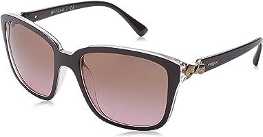 نظارة شمس بعدسات مربعة رمادي للنساء من فوج - اسود
