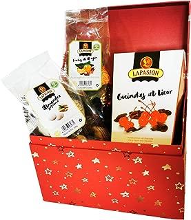LAPASION - Lotes, cestas y regalos. Cesta mixta con Frutas de Aragón, Guindas al licor y Almendras rellenas de turrón.