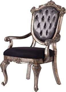 Acme Furniture AC-60543 Dining Chair, Silver Gray Silk-Like Fabric & Antique Platinum