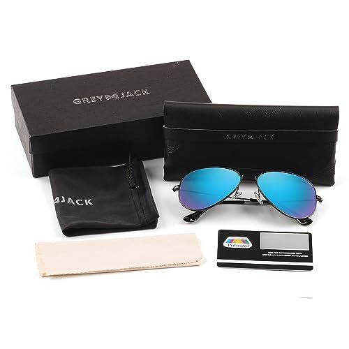 35c82d647f GREY JACK Polarized Classic Aviator Sunglasses Lightweight Style for Men  Women
