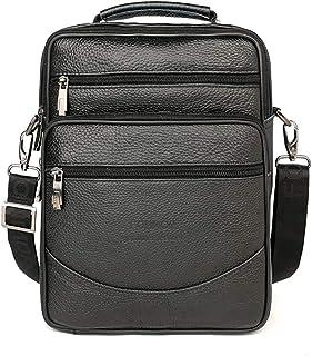 New Genuine Leather Briefcase Men Bag Business Handbag Black Shoulder Bags Tote Men Briefcase Multi-Layer Messenger Bags (Color : Black, Size : -)
