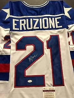 Autographed/Signed Mike Eruzione Team USA Miracle On Ice 1980 White Hockey Jersey JSA COA