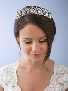 USABride Wedding Tiara Bridal Crown Vintage Antique Silver-Plated Rhinestone Headpiece 3286
