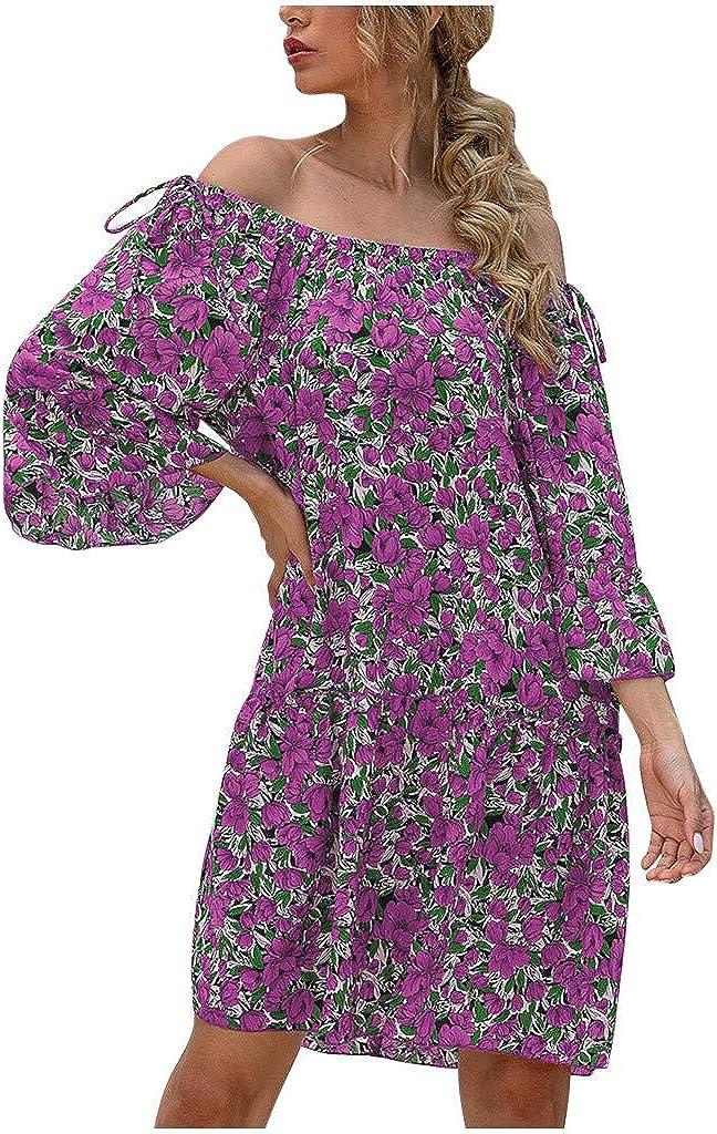 Women's Floral Printed Midi Dress Sexy Off One Shoulder Half Sleeve Slim Waist Leisure Loose A-line Dress