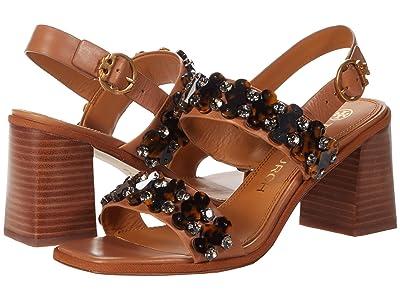 Tory Burch Delaney 75mm Embellished Sandal (Tan) Women