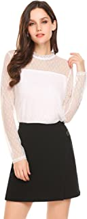 Women's Sexy Sheer Mesh Top Lace Mock Neck Blouse Long Sleeve Layered Shirt