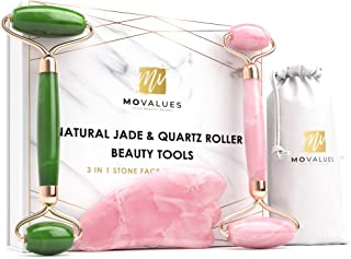 Authentic Jade Roller for Face, Rose Quartz Roller and Gua Sha Facial Tool Set - Anti-Aging Beauty Massager Set for Skin, Eyes, Neck | Tones, Firms, Depuffs and Reduces Appearance of Wrinkles