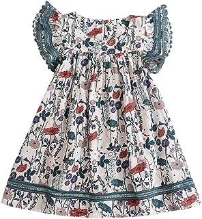 Bebé Niñas Vestidos de Floral Chicas Vestido para Niña Casual de Sin Manga para 2-8 años Ropa Niña Bebe Vestido de Fiesta Niña Tops Princesa Falda Verano