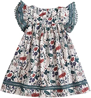 EDTO Girl Cotton Dress 6-12T Summer Casual Sleeveless Party Ruffles Dresses