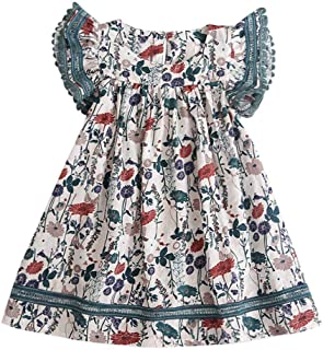 K-youth, Bebé Niñas Vestidos de Floral Chicas Vestido para Niña Casual de Sin Manga para 2-8 años Barato Ropa Niña Bebe Vestido de Fiesta Niña Tops Princesa Falda Verano