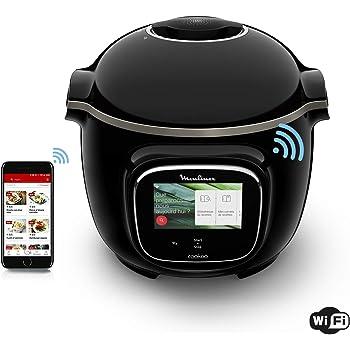 Moulinex Cookeo Touch WiFi Multicuiseur Intelligent Haute Pression Connecté Ecran Tactile 250 Recettes 13 Modes de Cuisson. Facile à Utiliser Inspiration Quotidienne Noir CE902800, 6 liters