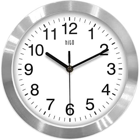 Amazon Com Hito Modern Silent Wall Clock Non Ticking 10 Inch Excellent Accurate Sweep Movement Aluminum Frame Glass Cover Decorative For Kitchen Living Room Bedroom Bathroom Bedroom Office Silver Kitchen Dining