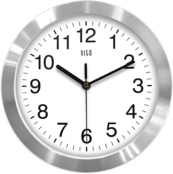 Hito Modern Silent Wall Clock Non Ticking 10 Inch Excellent Accurate Sweep Movement Aluminum Frame Glass Cover Decorative For Kitchen Living Room Bedroom Bathroom Bedroom Office Silver