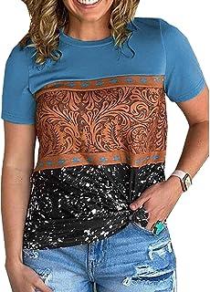Camiseta De Manga Corta con Costura Estampada De Verano para Mujer Top para Mujer Mujer
