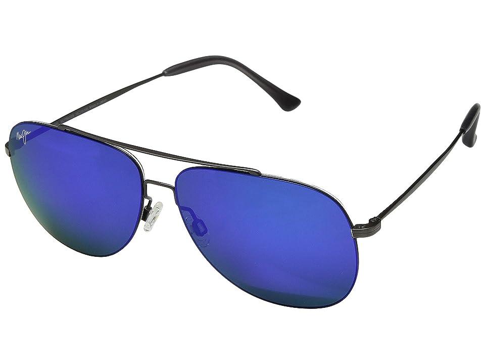 Maui Jim Cinder Cone (Satin Dark Gunmetal/Blue Hawaii) Athletic Performance Sport Sunglasses