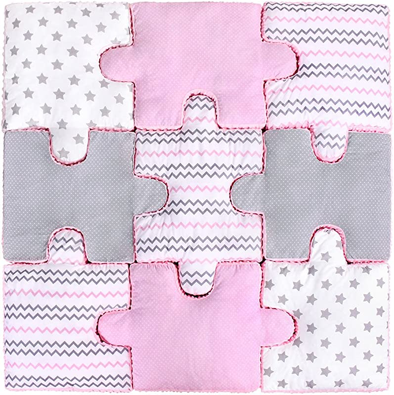 LULANDO Set Of 9 Puzzle Pillows For Children Soft Plush And Safe Play Mat 100 Cotton And Minky Material Anti Allergic Filling Farbe Pink