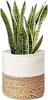 pepme Jute Cotton Planter Basket, 12 Inches for Plant Pot Storage (White, Beige, Plain, Pack of 1)
