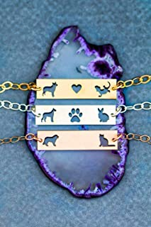Personalized Two Pet Bracelet - IBD - Layering Bar Adjustable Dog Lover Gift - 935 Sterling Silver 14K Rose Gold Filled