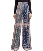 Long Scarf Print Trousers