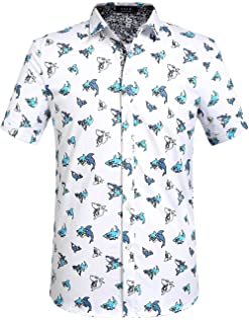 SSLR قمصان رجالي كاجوال مطبوعة بأكمام قصيرة بأزرار