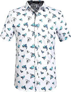 Men's Shark Printed Casual Button Down Short Sleeve Shirt