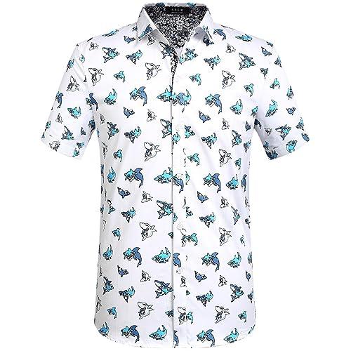 ec181e1b SSLR Men's Sharks Casual Button Down Short Sleeve Cotton Shirt
