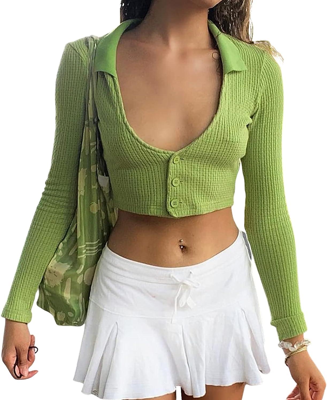 Y2k Vintage Cardigan, Long Sleeve Plunge Neck Crop Top, Front Open Tie Up Cardigan Sweater Fur Cardigan