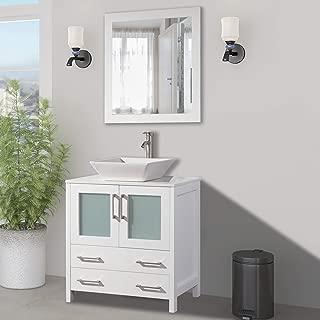 Vanity Art 30 inch Single Sink Small Bathroom Vanity Set 2-Drawers, 1-Shelf Quartz Top and Ceramic Vessel Sink Bathroom Cabinet with Mirror - VA3130-W