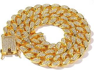 Gioielli Moca Hip Hop Ghiacciati Catena Cubana di Miami Catena placcata Oro Bianco 18 carati Collana Larghezza 20 mm per U...