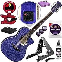Luna Flora Passion Flower Acoustic-Electric Guitar (Transparent Purple) with Guitar Stand and Accessory Bundle