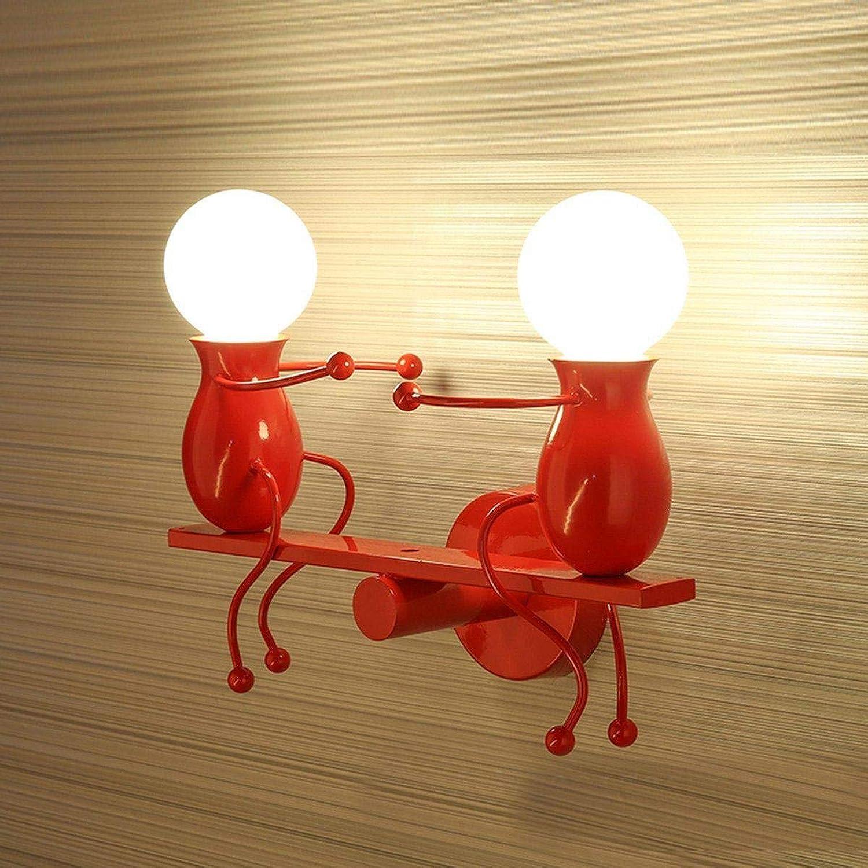 Einfache Wandleuchte modernen Stil Applique Design für Kinderzimmer dekorative Flur Glühbirne E27 x 2 max.40 W rot