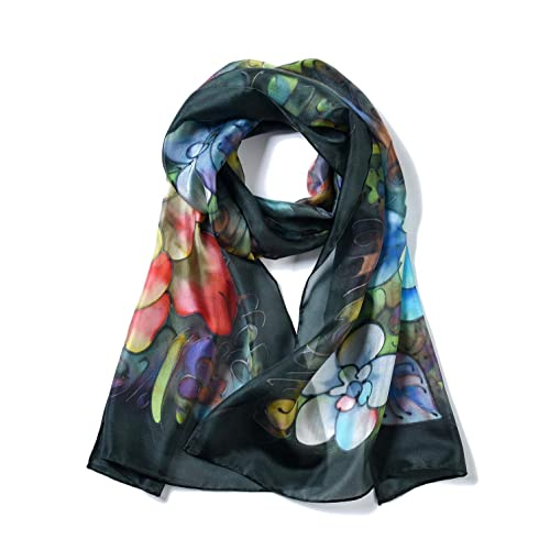 dd857aaec Invisible World Women's 100% Mulberry Silk Scarf Long Hand Painted Peonies  Black
