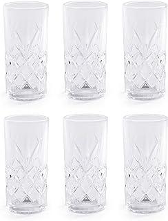 350ml Crystallised Glasses - Set of 6 | Highball Hi Ball Tumblers | Crystal Drinking Glasses | For Cocktails & Soft Drinks...
