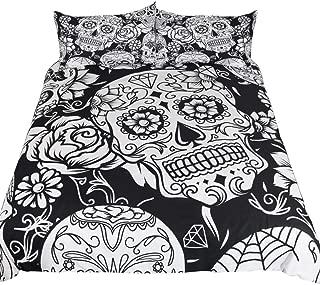 feelyou Sugar Skull Duvet Cover Set Queen Size Horror Skulls Print Bedding Set Floral Flowers Gothic Polyester Comforter Cover with 2 Pillow Shams Skeleton Quilt Cover Set, Black and White, 3 Pcs