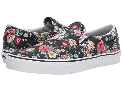 Vans Classic Slip-Ontm ((Garden Floral) Black/True White) Skate Shoes