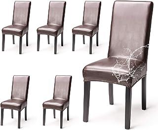 OSVINO Funda para silla de comedor, de piel sintética, resistente al agua, resistente al aceite, para hotel, reunión, hogar, 6 piezas, color marrón