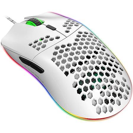Jiacai Ratón de Juego Programable 96G con Carcasa de Nido de Abeja Ligera,Sensor Láser de 6400 dpi,Retroiluminación RGB de Arco Iris-Blanco